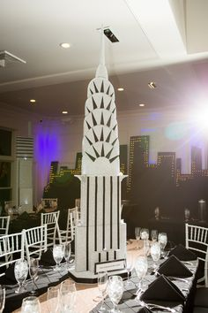 New York City themed Sweet 16 centerpiece - Chrysler Building