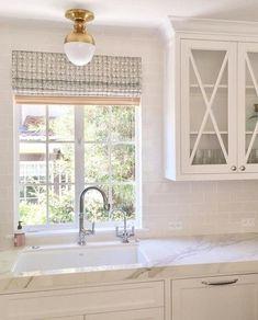 Lovely kitchen design ideas Kitchen Cabinets Around Window, Window Over Sink, Kitchen Sink Window, Glass Front Cabinets, Glass Kitchen, Kitchen With Bay Window, Kitchen Counters, Countertops, Cottage Kitchens