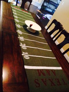 Football themed green burlap table runner