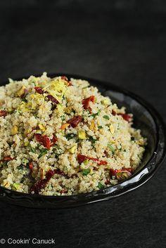 A flavorful, easy side dish: Lemon Quinoa Salad with Pistachios, Sun-Dried Tomatoes | cookincanuck.com #quinoa