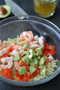 Salad Cups with Quinoa, Shrimp, Avocado & Lemon Dressing from Cookin Canuck