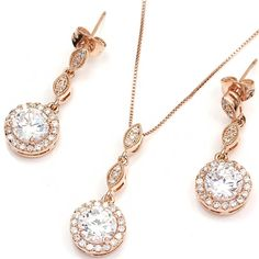FC Rose Gold Plated Diamante Crystal CZ Round Necklace Earring Studs Jewelry Set > Find out more details by clicking the image : trend jewelry 2016