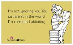 I'm not ignoring you...