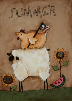 Primitive sheep and Rooster  Summer  Hand Painted by jennysfolkart, $6.49