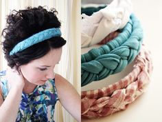 this very easy diy headband makes me want to rip t-shirts-wrap em around old headbands-braid-glue at 12:00 midnight :)
