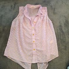 Sheer Purple Top This is adorable. Gold dots. Opens in the back. Pearl Tops