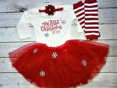 Baby girl christmas outfit- My First Christmas outfit- Christmas red…