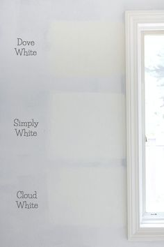 The best whites compared - Benjamin Moore Dove White versus Simply White vs. Cloud White paint colors
