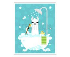 47j baignoire de bain imprimé - Lama en Art mural bain moussant - imprimer - lama blanc dessin - Funny Farm Animals - Lama Estampe - Art pour les enfants