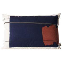 Coussin rectangulaire Colour Block bleu et rouille Ferm Living