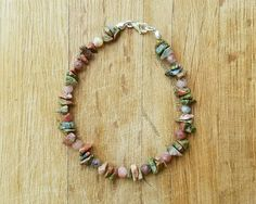 Unakite & Lepidolite Bracelet with by HendersonHandcrafted on Etsy