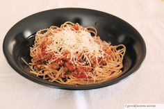 Spaghetti with ground turkey meat sauce or Makaronia me kima in Greek.