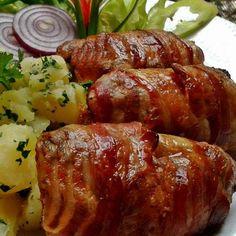 Fűszeres csirkeszárnyak baconben sütve Recept képpel - Mindmegette.hu - Receptek Croatian Recipes, Hungarian Recipes, Hungarian Food, Meatloaf, Bacon, Food And Drink, Dishes, Chicken, Foods