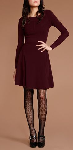 Bordeaux-coloured Shosanna Aleyta Dress, with patterned tights and mary janes