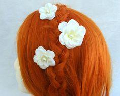 Flower Bobby Pins Flower Hair Pins White Flower by RuthNoreDesigns, $15.00