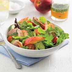 Salade de porc et pêches - Les recettes de Caty Summer Drinks, Green Beans, Spinach, Beverages, Nutrition, Vegetables, Cooking, Cocktails, Vegan