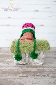 PDF Watermelon Hat  CROCHET  PATTERN No 220 photo prop sizes preemie, newborn. 0-3, 3-6 months. $3.99, via Etsy.