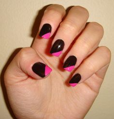 Black and Pink Nail Polish Designs - Black and Pink Nail Designs . Pink Black Nails, Pink Nail Colors, Hot Pink Nails, Pink Manicure, White Acrylic Nails, Pink Nail Polish, Neon Nails, Pink Glitter, Glitter Makeup