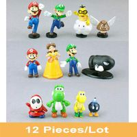 "12pcs/set Super Mario Bros Brothers 1""-2.5"" Mini PVC Action Figures Set Kids Toys Dolls Luigi Daisy Princess Yoshi Dinosaur Gift"
