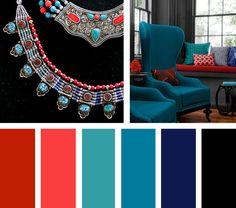 Con mucho contraste, esta paleta de colores compuesta por rojos, azules, verdes y negros viste un espacio con una personalidad elegante y atrevida.  Espacio Vía: eatwell101