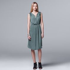 Women's Simply Vera Vera Wang Pleated Satin Fit & Flare Dress