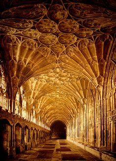 Gloucester Cathedral, England~~Dating from 1098 to 1493, it has a Norman nave…