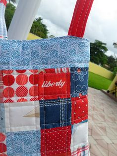 patchwork purse, quilted purse, cross body bag, red white and blue