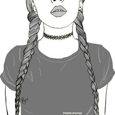 black and white, black&white, braids, drawing, girl - image ...