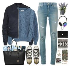 """""""2447. I literally have to remind myself all the time, that being afraid of things going wrong isn't the way to make things go right."""" by chocolatepumma ❤ liked on Polyvore featuring Topshop, WithChic, Yves Saint Laurent, Disaster Designs, Converse, ASOS, MICHAEL Michael Kors, Frends, DANNIJO and OKA"""