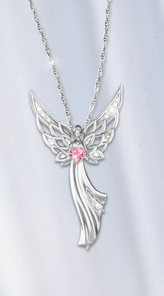 Guardian angel of love swarovski crystal pendant necklace graceful this beautiful angel holds a heart of hope in her hands and you can take her aloadofball Gallery