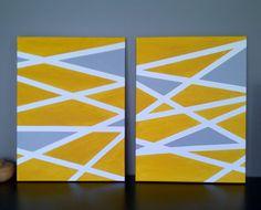 DIY geometric art on canvas using painter's tape and acrylic.