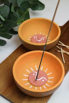 Sun Soleil Incense Holder, Burner and Trinket Dish // Hand-Painted Terracotta Clay // Meditation Aid // Yellow & White