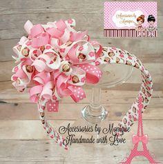 MONKEY Ribbon Woven HEADBAND Pink and White Korker Bow Polka Dot Hairband Girl Teen Adult Photo Prop Birthday by AccessoriesByMonique on Etsy