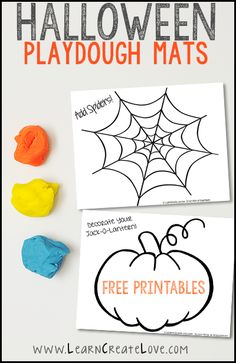 Halloween is just a few days away, and I wanted to share these playdough mats I made a while ago. One is a spiderweb and the other is a faceless jack-o-lantern (pumpkin). We have had a lot of fun with