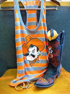 Get your orange and black on EARLY for an 11:00 kickoff against UTSA tomorrow! Go Pokes! (Gameday OSU boots & RetroBrand Tee) Shoe Bank, Stillwater, Oklahoma http://www.shoebankstillwater.com