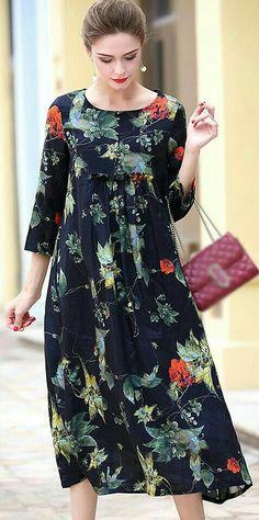 Retro O-Neck Long Sleeve Floral Print A-Line Dress - Social Sharing Women's Fashion Dresses, Casual Dresses, Summer Dresses, Social Dresses, Straight Dress, Retro Dress, Designer Dresses, Beautiful Dresses, Floral Prints