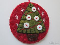 Christmas Tree Ornament, White Buttons, Handstitched, Red and Green Wool Felt