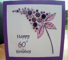 Happy 60th Birthday Card - Made using Woodware Clear Bubble Bloom Felicity Stamp