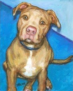 Pit Bull Dog Art 8x10 Print of Original Painting by DottieDracos