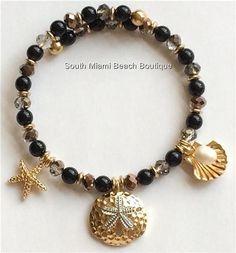 Gold Plated Pearl Sea Life Charm Bracelet Shell Starfish Island Beach Adjustable #Redwood #Traditional