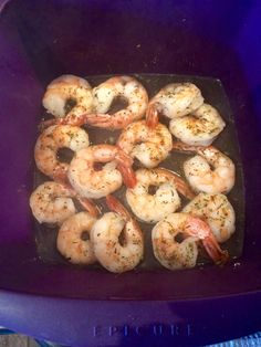 Shrimp cooked in Epicure multi purpose steamer (7 minutes from frozen)