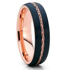 Rose Gold Tungsten Ring,Braided Tungsten Ring,Black Tungsten Band,6mm