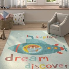 Zoomie Kids Engler Submarine Dream Sky Blue Area Rug Rug Size: Rectangle Retro Robot, Felt Material, Recycle Plastic Bottles, Blue Area, Indoor Rugs, Kid Spaces, Animals For Kids, Beige Area Rugs, Game Room