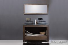 Natural stone basin & solid oak vanity