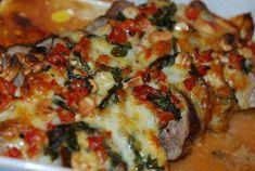 Fläskfilé med italienskt täcke Alfredo Sauce, Mozzarella, Vegetable Pizza, Quiche, Food And Drink, Meat, Chicken, Vegetables, Breakfast