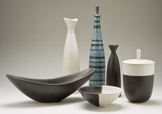 A collection of slip-cast earthenware, Evelyn & Jerome Ackerman, 1953-59. Image: Steve Oliver