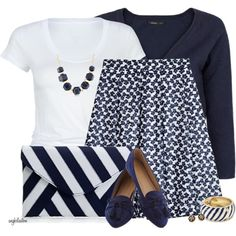 Navy and White for Spring, created by angkclaxton on Polyvore
