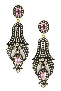 Pink Sapphire & Diamond Drop Earrings - 1.06 ctw