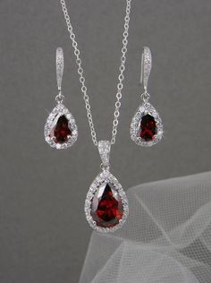 RED Bridal Jewelry. RED Crystal wedding jewelry by CrystalAvenues, $60.00