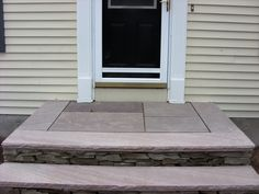 This fieldstone entry would make a beautiful design for a Ranch-style home since so many Ranch-style homes have stone veneer on the house. Design by Lewis Garden & Landscape in Whitinsville MA. House Front, Front Porch, Outdoor Rooms, Outdoor Decor, Landscape Structure, Garden Design, House Design, Door Steps, Front Steps